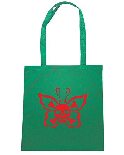T-Shirtshock - Borsa Shopping FUN0418 1801 butterfly skull decal 67316 Verde