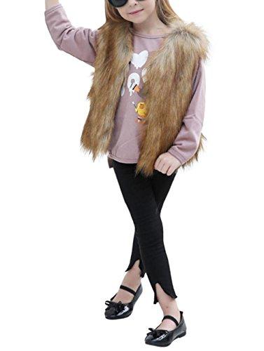 Kinder Mädchen Pelzmantel Kunstfell Hirolan Herbst Kinderkleidung Strampler Winter Babykleidung Mädchen Faux Pelz Weste Dick Mantel Warm Outwear Kleider (100cm, Khaki) (Gefälschte Fox)