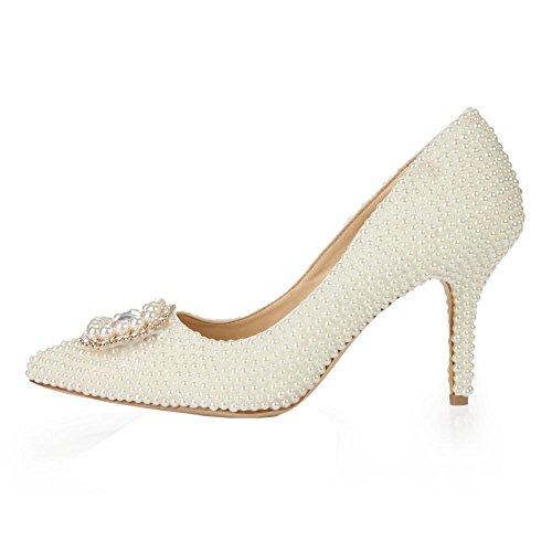 frauen kristall schuhe dünne high heels leder perle diamant handgemachte abend hochzeit party pumps braut brautjungfern sandalen . white . 41