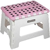 Puhlmann Capventure Miss Daisy - Taburete plegable (plástico, 30x25cm), color rosa y gris