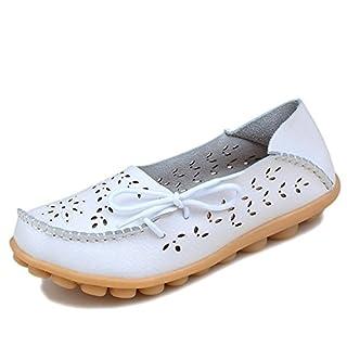 Damen Casual Mokassin Leder Loafers Fahren Schuhe Comfort Freizeit Flache Schuhe Slipper Flats chuhe Low-top Lederschuhe Erbsenschuhe-05WH38.5