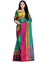 Sarees For Women Sarees New Collection Sarees For Women Latest Design Women's Green Cotton Silk Saree With Blouse...