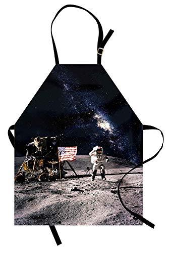 Galaxy Schürze, Astronaut auf felsiger Oberfläche des Mondes Amerikanische Flagge USA Rocket Traveling Space Art, Unisex-Küchenschürze mit verstellbarem Hals zum Kochen Backen Gartenarbeit, Grau ()