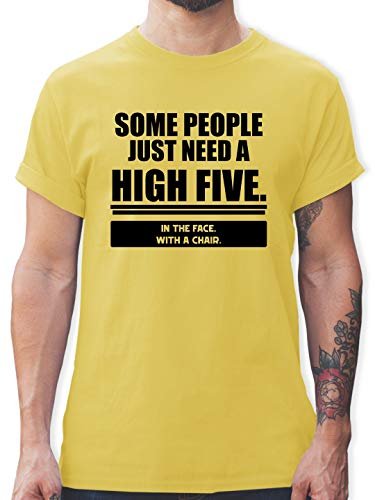 Stuhl-arm-fach (Sprüche - Some People just Need a High Five. In The face. with a Chair. - XXL - Lemon Gelb - L190 - Herren T-Shirt und Männer Tshirt)