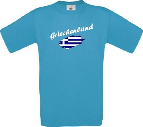 Shirtinstyle Kinder-Shirt WM Ländershirt Griechenland diverse Farben, Farbe tuerkis, Größe 116