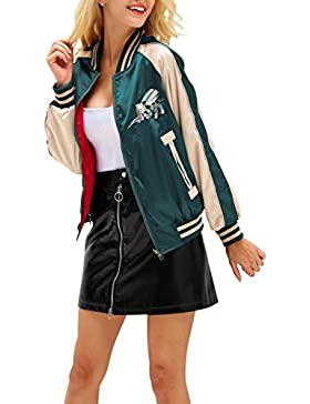 Simplee mujer manga larga bordado béisbol otoño chaqueta bomber reversible chaqueta de raso