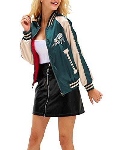 Simplee Apparel Damen Jacke Übergang Tier Stickerei Satin Reversibel Baseball Jacket Bomberjacke Gelb Schwarz Grün Rot