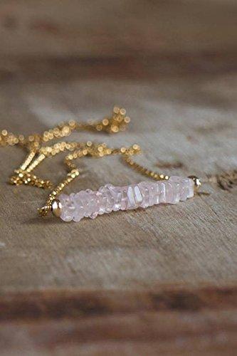 Rosenquarz Bar Halskette in Silber oder Gold filledfilled, Rosenquarz Schmuck, Pink Bar Halskette, Heilung Kristall Halskette, Herz Chakra Halskette 4-4,5mm