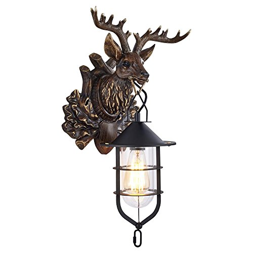 Plug-in Swing-wand-lampe (Lonfenner Vintage Hirsch Wand leichte kreative Korridor die Treppe Eingang Leuchten rustikale Wand Lampe am Krankenbett Terrasse Hirschgeweih Wandleuchte 48 * 30cm , A)