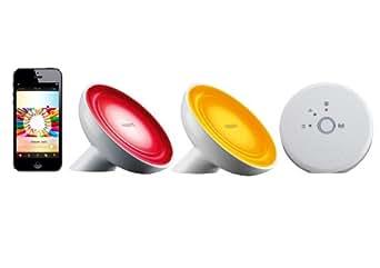 Philips Hue Kit de Démarrage 2 Living Colors Bloom Connectées Hue + Pont de Connexion Pilotable Via Smartphone