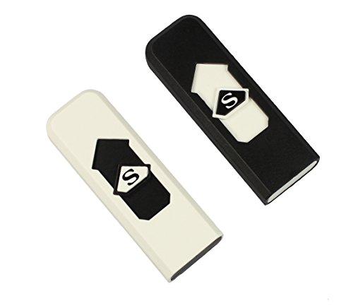 com-four® 2X Encendedor USB, eléctrico, sin Llama, Cigarrillos para encenderse, Recargable (02 Piezas - Negro + Blanco)