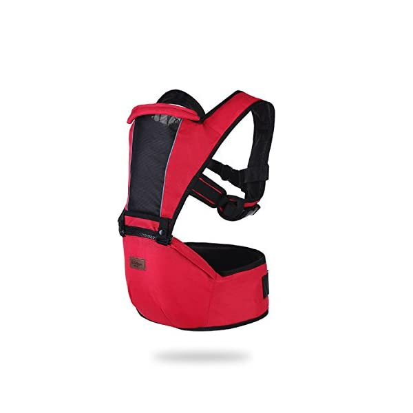 SONARIN 2018 Premium Hipseat Baby Carrier, Front,Horizontal, Multifunctional, Ergonomic,6 Carrying Positions,Safe and Comfortable,Adapted to Your Child's Growing,Ideal Gift(Red) SONARIN Applicable age and Weight?0-36 months of baby, the maximum load: 25KG, and adjustable the waist size can be up to 43.3 inches (about 110cm). Material:designers choose soft Oxford cloth, soft color, good ventilation, strong endurance, no irritation to the baby's skin,to the baby comfortable and enjoyable. Description: patented design of the auxiliary spine micro-C structure and leg opening design, natural M-type sitting. Widen the shoulder strap and belt will be effective to disperse the baby's weight to the shoulder and waist, so that mother more effort. EPP seat core, no deformation, baby sitting more comfortable. 1