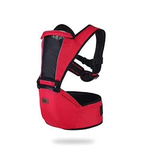 Sonarin 2018 premium hipseat baby carrier, anteriore, orizzontale, multifunzionale,ergonomico,6 portanti, sicuro e comodo,adattato al crescere del tuo bambino,regalo ideale(rosso)