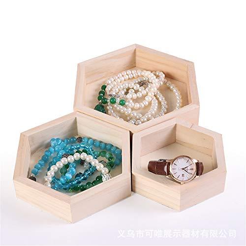 Cvbndfe 3 Stücke Verschiedene Größe Natürliche Holz Hexagon Vanity Organizer Kosmetik Make-Up Ablage Holz Schmuck Tablett (Farbe, Größe : Einheitsgröße) - Hintere Vitrine