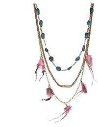 lureme bohemios cadenas de perlas de varias capas de cuentas Strand turquesa de imitación con colgantes de plumas de pavo real collar para las mujeres y las niñas (01002120)
