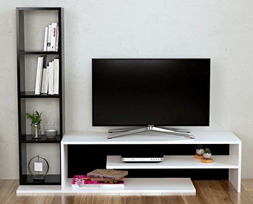 Peony set soggiorno - parete attrezzata - mobile tv porta con mensola in moderno design (bianco / nero)