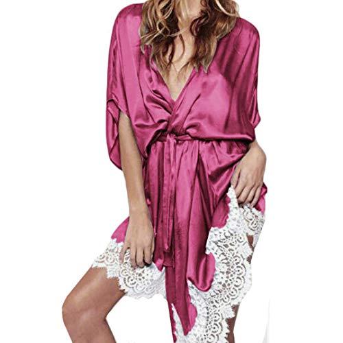 Unterwäsche Set Riou Damen Reizvolle Erotik Dessous Set Versuchung Nachtwäsche Babydoll Reizvolle Pyjamas Frauen Seide Lace Robe Nightgown Wäsche (M, Pink)