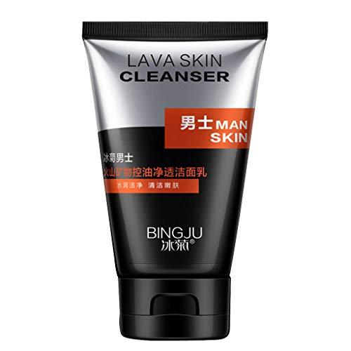 hahuha Makeups  Schönheitsprodukte ,Vulkanschlamm Men Face Wash Foam Scrub Gesichtsreiniger für fettige Haut Mitesser Black Head