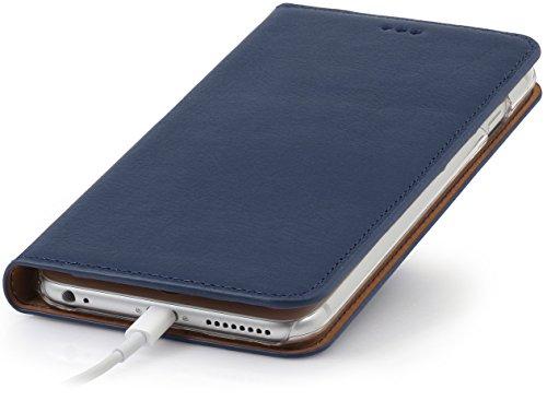 """StilGut Talis, Wallet-Case Schutz-Hülle für iPhone 6s Plus (5.5"""") mit Kreditkarten-Fächern aus echtem Leder. Seitlich aufklappbares Flip Case in Handarbeit gefertigt für das Original Apple iPhone 6s P Dunkelblau"""
