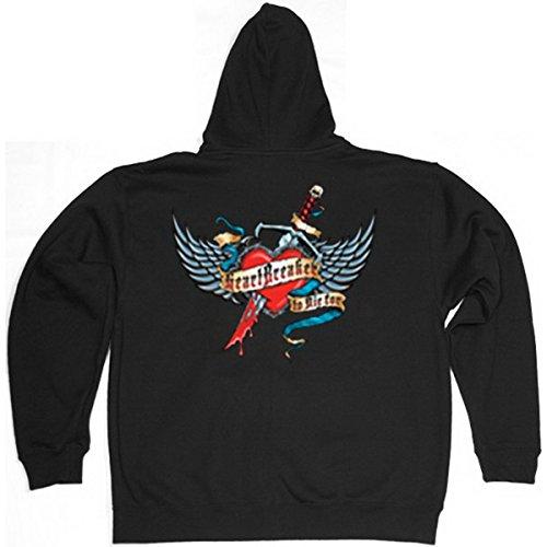 Kapuzen-Zip-Sweater! Für Biker und Motorradfans: Heart Breaker Gr M (Fb schwarz) Heartbreaker Zip Hoodie