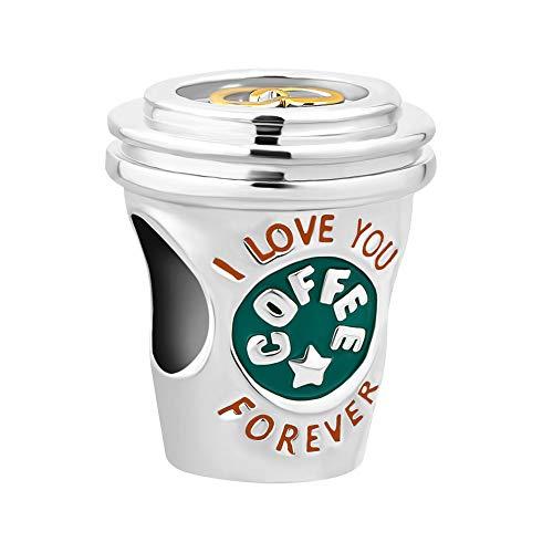 Sug jasmin - ciondolo a forma di tazza di caffè, con scritta i love you forever, compatibile con braccialetti europei