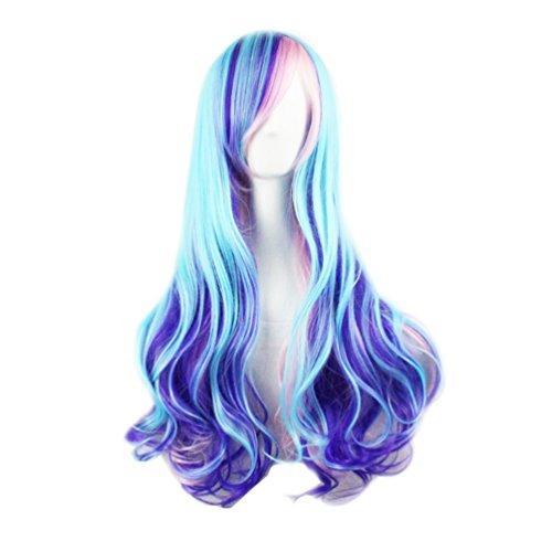 Photo Pal 70cm Cosplay Perruque Bleu Longue Ondulée Cheveux Synthétiques Dégradé Lolita Pastel Harajuku
