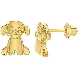 Chapado en oro de 18 K de cachorro de perro Niños pendientes niña niño a tornillo de 8 mm
