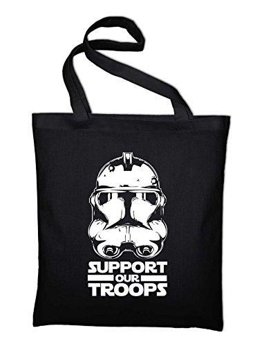 Stormtrooper Support Our Troops Fun Jutebeutel, Beutel, Stoffbeutel, Baumwolltasche, schwarz Schwarz