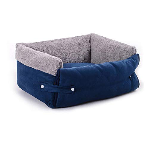 Lging Pet Nest Flip Pet Sofa Kissen Vier Jahreszeiten Universal Cat Matratze Kleine Und Mittlere Multifunktionale Warme Katze Haus Kennel (Color : Blue) -