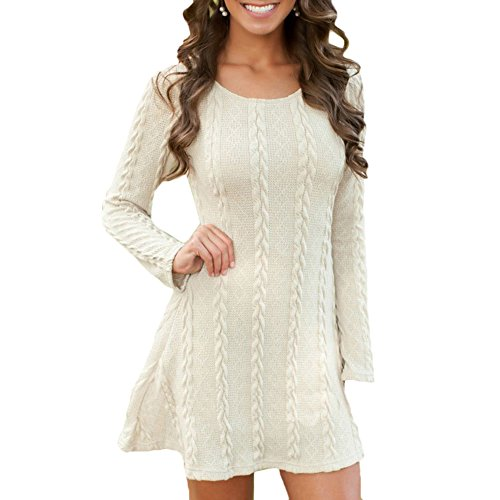 Scothen Damen A-Line Kleid Strickkleider Langarm Sweater Tops Modern Jersey Fashion Casual Mini Kleid Longshirt Jumper Sweatshirt Pullover Bluse (Knit Top Thin)
