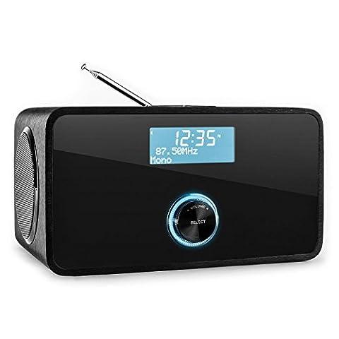 auna DABStep • Digitalradio • Radiowecker • DAB / DAB+ / UKW-Tuner • LCD-Display • Datum- und Uhrzeit-Anzeige • RDS • Breitbandlautsprecher • 2-Band Equalizer • Bluetooth • Sleep-Timer • Snooze • AUX-Eingang zum Anschluss externer Audiogeräte • schwarz