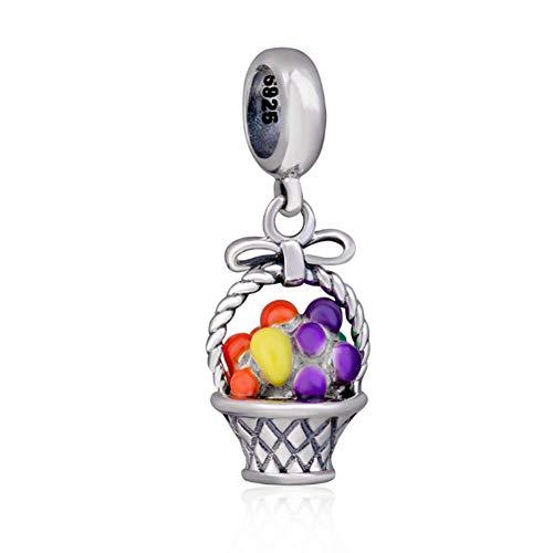 Cesto per frutta, in argento sterling 925con ciondolo a forma di fiore di natale fascino anniversary charm per braccialetti pandora