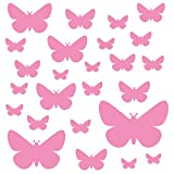 PREMYO Set de 25 Stickers Muraux Enfants Papillons - Autocollants Décoration Murale Chambre Bébé - Facile à Poser Rose
