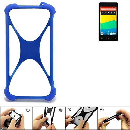 K-S-Trade Handyhülle für BQ Readers Aquaris E4.5 Silikon Schutz Hülle Cover Case Bumper Silikoncase TPU Softcase Schutzhülle Smartphone Stoßschutz, blau (1x)