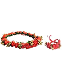 Loops n knots ® Red & Golden Floral Tiara/Crown With Wrist Band/Puff Wrap For Girls & Women-Combo Pack