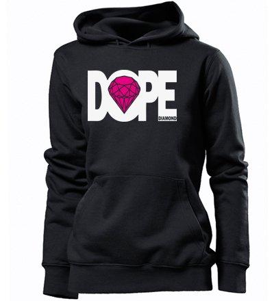 DOPE DIAMOND - 3D - Zweifarbig - dope diamond Damen Frauen Hoodie Gr. S - XL Versch. Farben Schwarz / Weiss-Pink