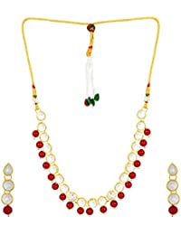 Shining Diva Jewelry Red Kundan Fancy Party Wear Necklace For Women Traditional Jewellery Set With Earrings For...
