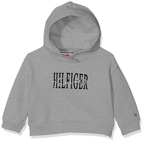 Tommy Hilfiger Baby-Mädchen Essential Graphic Logo Hoodie Kapuzenpullover, Grau (Grey Heather 004), (Herstellergröße:86)