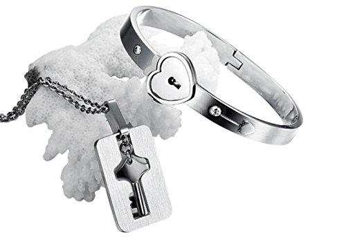 Veuer Schmuck-Set für Partner Hals-Kette + Armband Herz Liebe Schlüssel & Schloss Geschenk zu Weihnachten Mann/Frau Edelstahl Liebesbeweis Treue