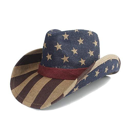 XXY Kappe Sonnenhut Strohmänner Cap mit amerikanischer Flagge für den Sonnenhut Cowboy Male Jazz Cap Größe 58cm Dropshipping beiläufig (Farbe : Multi-colored, Größe : 58 cm) (Für Kinder Stroh-cowboy-hut Bulk)