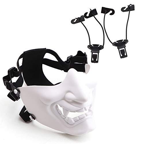 Einzigartige Kostüm Halloween - Halbe Gesichtsmaske Scary Smiling Ghost Shape Einstellbare (taktische) Kopfbedeckung Schutz Outdoor-Sportbekleidung Halloween-Kostüme Einzigartiges Zubehör Balight