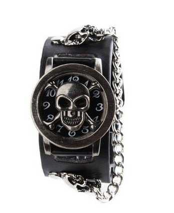 Orrorr Moda Hombres Punk Skeleton banda de cuero pulsera unisex reloj de pulsera