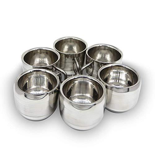 Whopperindia Tasse à café Espresso Tasse mug Lot de 6 tasses à thé double paroi en acier inoxydable, réutilisable et passe au lave-vaisselle empilables