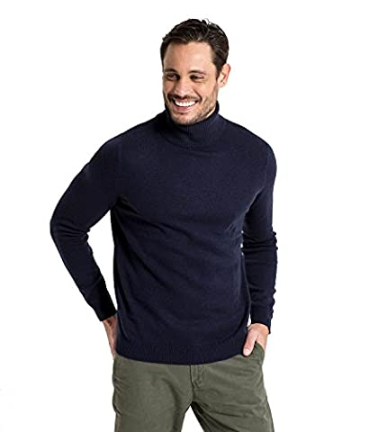 WoolOvers Pull à col roulé - Homme - Cachemire & mérinos Navy, XXL
