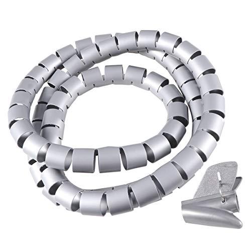 UKCOCO Schnur-Management-Ärmel-Kabel-Organisator-Tropfen-Draht-Kabel-Halter-Clip - 150x2cm (Grau)