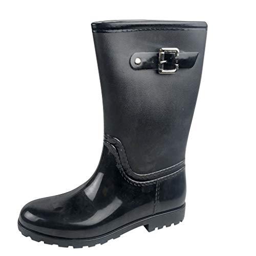Damen rutschfest Regenstiefel, LeeMon Frauen Regenstiefel Stiefeletten Gartenarbeit Mode Outdoor Boots Retro Light -