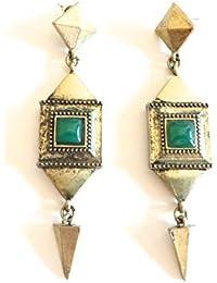 Réf180 BO.887 - Boucles D'oreilles Fantaisie Boho - Pendants Style Bohème Chic Pierre Vert Emeraude Métal Doré Vintage