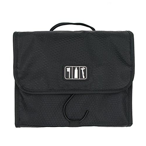 d87a9d21b Neceser de Viaje Diseño Desplegable – Bolsa de Aseo Colgante Negra con  Gancho de Acero Ahorra