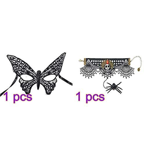 BESTOYARD 2 stücke Halloween Spitze Maske und Armband Spinne Schädel Anhänger Armband Venezianische Halbe Gesichtsmaske für Frauen Maskerade Party (Schwarz)