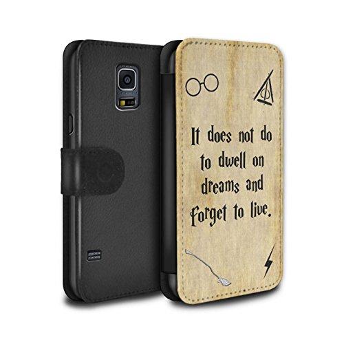 Stuff4® PU-Leder Hülle/Case/Tasche/Cover für Samsung Galaxy S5/SV/Dwell On Dreams Muster/Schule der Magie Film Zitate Kollektion (Harry Potter S5 Fall)